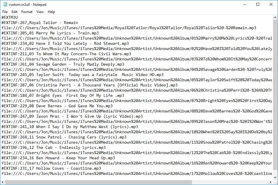 メモ帳でM3U8ファイルを開く